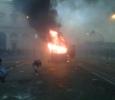 Rome, police van on fire